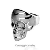 Mens Modern Italian 14K White Gold Skull Ring R635-14KWGS
