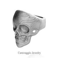 Mens Modern Italian 14K White Gold Skull Ring R635-14KWGS3