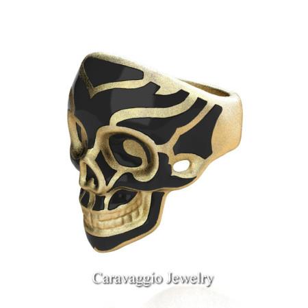 Caravaggio-Mens-14K-Yellow-Gold-Black-Enamel-Skull-Ring-R638-14KYGSBE-P