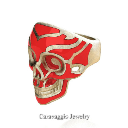 Caravaggio-Mens-14K-Yellow-Gold-Red-Enamel-Skull-Ring-R638-14KYGSRE-P22