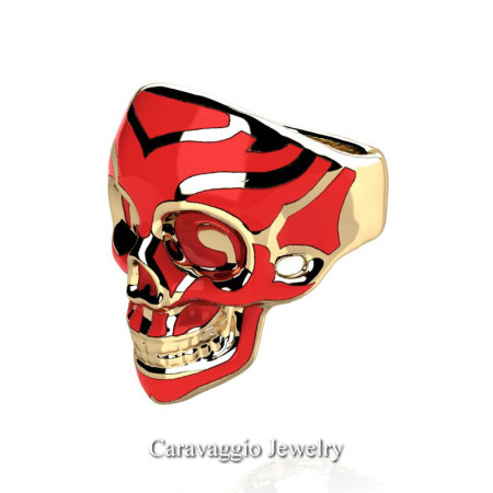 Caravaggio-Mens-14K-Yellow-Gold-Red-Enamel-Skull-Ring-R638-14KYGSRE-P4
