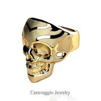 Mens Modern Italian 14K Yellow Gold Skull Ring R635-14KYGS