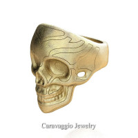 Mens Modern Italian 14K Yellow Gold Skull Ring R635-14KYGS2