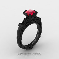 Caravaggio 14K Black Gold 1.0 Ct Ruby Black Diamond Engagement Ring R623-14KBGBDR