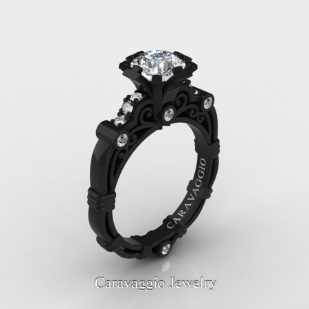 Art-Masters-Caravaggio-14K-Black-Gold-1-Carat-White-Sapphire-Diamond-Engagement-Ring-R623-14KBGDWS-P
