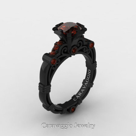 Caravaggio-Jewelry-14K-Black-Gold-1-Carat-Brown-Diamond-Engagement-Ring-R623-14KBGBRD-P