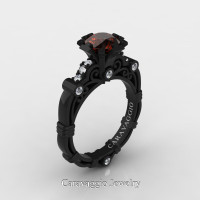 Caravaggio 14K Black Gold 1.0 Ct Brown and White Diamond Engagement Ring R623-14KBGDBRD