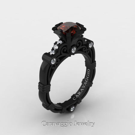 Caravaggio-Jewelry-14K-Black-Gold-1-Carat-Brown-and-White-Diamond-Engagement-Ring-R623-14KBGDBRD-P