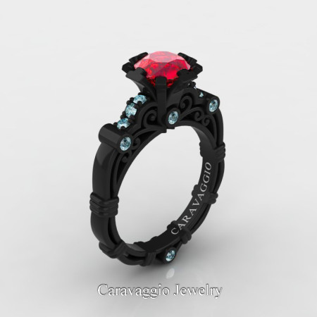 Caravaggio-Jewelry-14K-Black-Gold-1-Carat-Ruby-Aquamarine-Engagement-Ring-R623-14KBGAQR-P