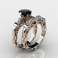 Art Masters Caravaggio 14K Rose Gold 1.25 Ct Princess Black and White Diamond Engagement Ring Wedding Band Set R623PS-14KRGDBD