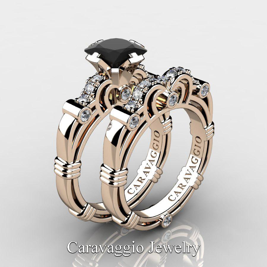 Art Masters Caravaggio 14K Rose Gold 1.25 Ct Princess Black And White  Diamond Engagement Ring Wedding Band Set R623PS 14KRGDBD | Caravaggio  Jewelry