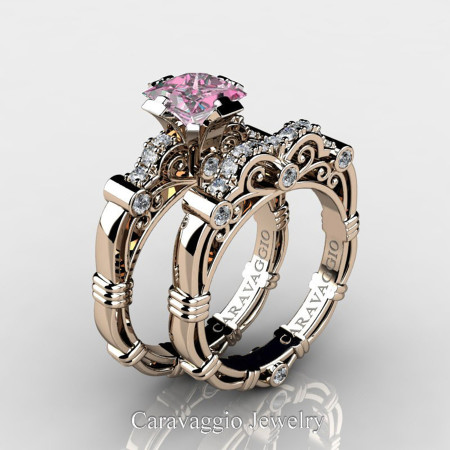 Art-Masters-Caravagio-14K-Rose-Gold-1-5-Carat-Princess-Light-Pink-Sapphire-and-White-Diamond-Engagement-Ring-Wedding-Band-Set-R623PS-14KRGDLPS-P