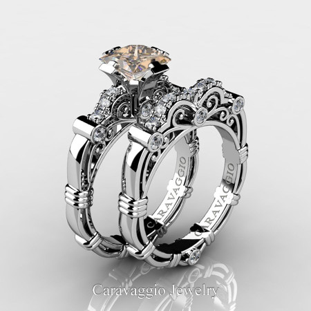 Art-Masters-Caravagio-14K-White-Gold-1-5-Carat-Princess-Champagne-and-White-Diamond-Engagement-Ring-Wedding-Band-Set-R623PS-14KWGDCHD-P