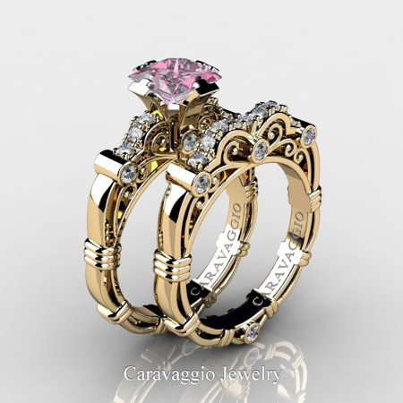 Art-Masters-Caravagio-14K-Yellow-Gold-1-5-Carat-Princess-Light-Pink-Sapphire-and-White-Diamond-Engagement-Ring-Wedding-Band-Set-R623PS-14KYGDLPS-P