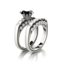 Caravaggio Classic 14K Matte White Gold 1.0 Ct Black and White Diamond Engagement Ring Wedding Band Set R637S-14KMWGDBD