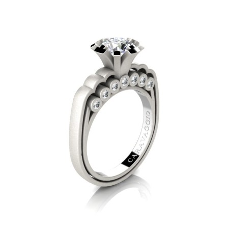 Caravaggio-Classic-14K-Matte-White-Gold-1-0-Carat-White-Sapphire-Diamond-Engagement-Ring-R637-14KMWGDWS-P