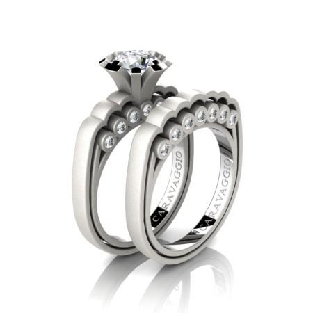 Caravaggio-Classic-14K-Matte-White-Gold-1-0-Carat-White-Sapphire-Diamond-Engagement-Ring-Wedding-Band-Set-R637S-14KMWGDWS-P
