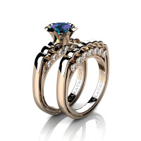 Caravaggio Classic 14K Rose Gold 1.0 Ct Alexandrite Diamond Engagement Ring Wedding Band Set R637S-14KRGDAL