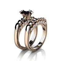 Caravaggio Classic 14K Rose Gold 1.25 Ct Black and White Diamond Engagement Ring Wedding Band Set R637S-14KRGDNBD