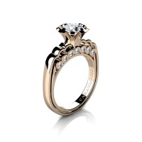Caravaggio Classic 14K Rose Gold 1.0 Ct White Sapphire Diamond Engagement Ring R637-14KRGDWS