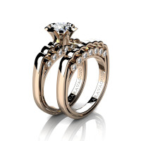 Caravaggio Classic 14K Rose Gold 1.0 Ct White Sapphire Diamond Engagement Ring Wedding Band Set R637S-14KRGDWS