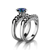 Caravaggio Classic 14K White Gold 1.0 Ct Alexandrite Diamond Engagement Ring Wedding Band Set R637S-14KWGDAL