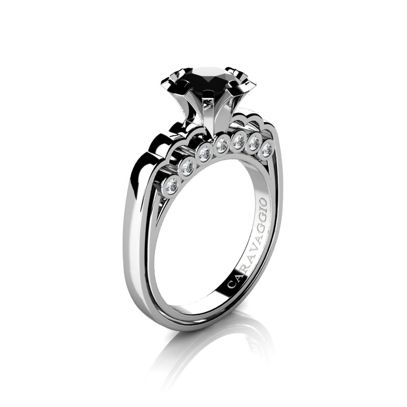 Caravaggio Classic 14K White Gold 1 0 Ct Black and White Diamond Engagement R