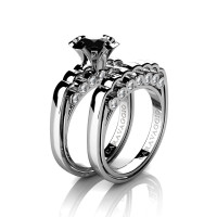 Caravaggio Classic 14K White Gold 1.0 Ct Black and White Diamond Engagement Ring Wedding Band Set R637S-14KWGDBD