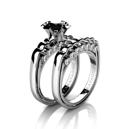 Caravaggio-Classic-14K-White-Gold-1-0-Carat-Black-and-White-Diamond-Engagement-Ring-Wedding-Band-Set-R637S-14KWGDBD-P