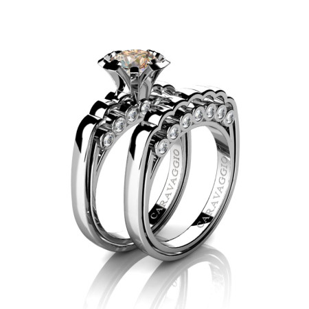 Caravaggio-Classic-14K-White-Gold-1-0-Carat-Champagne-and-White-Diamond-Engagement-Ring-Wedding-Band-Set-R637S-14KWGDCHD-P