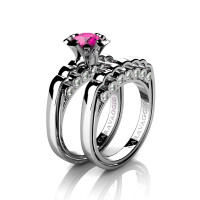 Caravaggio Classic 14K White Gold 1.0 Ct Pink Sapphire Diamond Engagement Ring Wedding Band Set R637S-14KWGDPS