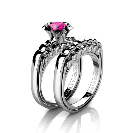 Caravaggio-Classic-14K-White-Gold-1-0-Carat-Pink-Sapphire-Diamond-Engagement-Ring-Wedding-Band-Set-R637S-14KWGDPS-P