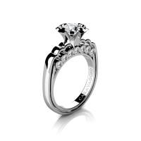 Caravaggio Classic 14K White Gold 1.0 Ct White Sapphire Diamond Engagement Ring R637-14KWGDWS