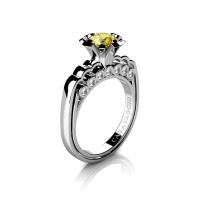 Caravaggio Classic 14K White Gold 1.0 Ct Yellow Sapphire Diamond Engagement Ring R637-14KWGDYS