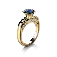 Caravaggio Classic 14K Yellow Gold 1.0 Ct Alexandrite Diamond Engagement Ring R637-14KYGDAL