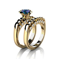 Caravaggio Classic 14K Yellow Gold 1.0 Ct Alexandrite Diamond Engagement Ring Wedding Band Set R637S-14KYGDAL