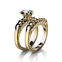 Caravaggio Classic 14K Yellow Gold 1.0 Ct White Sapphire Diamond Engagement Ring Wedding Band Set R637S-14KYGDWS