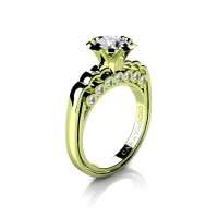 Caravaggio Classic 18K Green Gold 1.0 Ct White Sapphire Diamond Engagement Ring R637-18KGGDWS