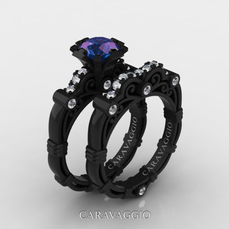 Art-Masters-Caravaggio-14K-Black-Gold-1-Carat-Chrysoberyl-Alexandrite-Diamond-Engagement-Ring-Wedding-Band-Set-R623S-14KBGDAL-P