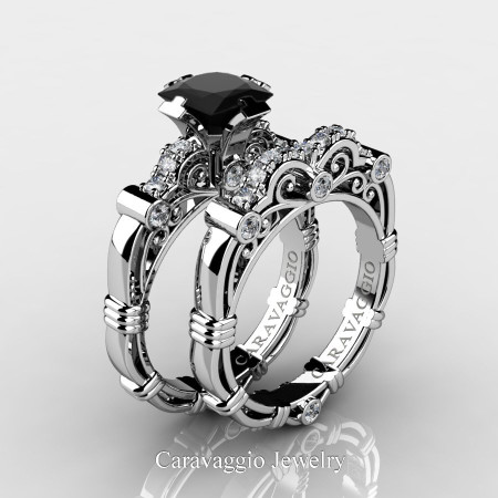 Art-Masters-Caravagio-950-Platinum-1-5-Carat-Princess-Black-Diamond-and-White-Diamond-Engagement-Ring-Wedding-Band-Set-R623PS-PLATDBD-P