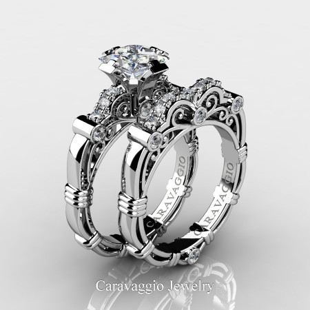 Art-Masters-Caravagio-950-Platinum-1-5-Carat-Princess-White-Sapphire-and-White-Diamond-Engagement-Ring-Wedding-Band-Set-R623PS-PLATDWS-P