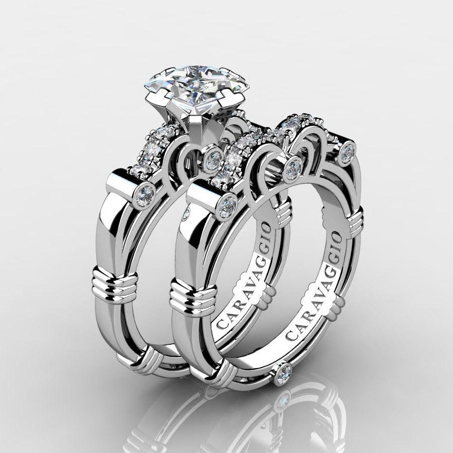 art masters caravaggio 950 platinum 125 ct princess white sapphire diamond engagement ring wedding band set r623ps platdws caravaggio jewelry - White Sapphire Wedding Ring Sets