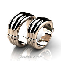 Caravaggio Classic 14K Rose Gold Wedding Ring Set R2001S-14KRG