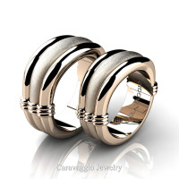 Caravaggio Classic 14K Rose Gold Wedding Ring Set R2001S-14KRGS
