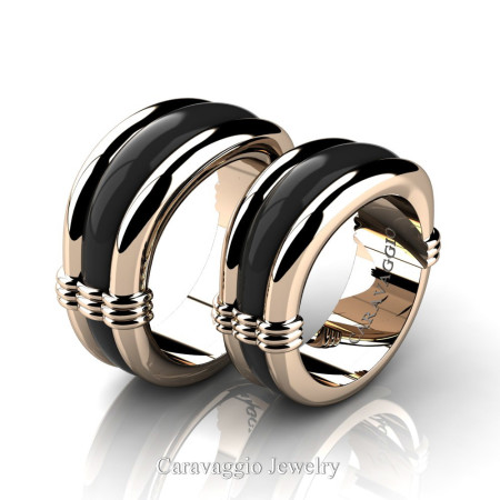 Caravaggio-Classic-14K-Rose-and-Black-Gold-Wedding-Ring-Set-R2001S-14KRBG-P