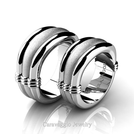 Caravaggio-Classic-14K-White-Gold-Wedding-Ring-Set-R2001S-14KWGS-P