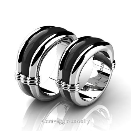 Caravaggio-Classic-14K-White-and-Black-Gold-Wedding-Ring-Set-R2001S-14KWBG-P