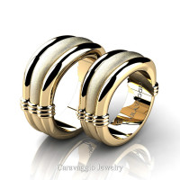 Caravaggio Classic 14K White Gold Wedding Ring Set R2001S-14KWGS