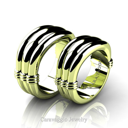 Caravaggio-Classic-18K-Green-Gold-Wedding-Ring-Set-R2001S-18KGG-P