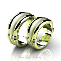 Caravaggio Classic 18K Green Gold Wedding Ring Set R2001S-18KGGS
